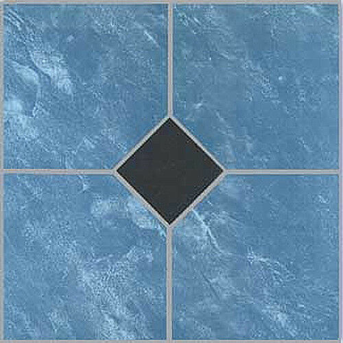 Blue Vinyl Floor Tile 40 Pcs Adhesive Bathroom Flooring