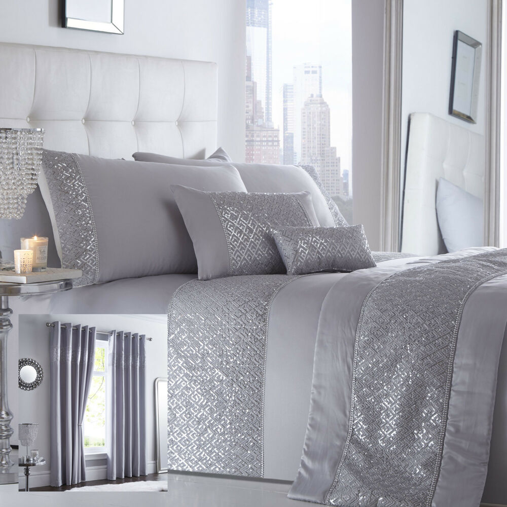 Shimmer Bedding Range Silver Choice Of Duvet Sets Curtains Cushions Amp Bed Runner Ebay