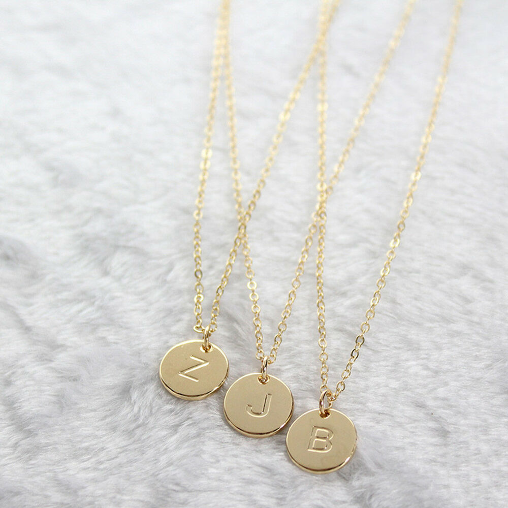f4a17f9fc1 Details about Simple Letter Round Pendant Chain Necklace Women's Jewelry  Party Gift Little