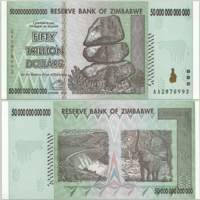 Details About Zimbabwe P 90 50 Trillion Bill Free Zambibwe 100 Quadrillion Parody