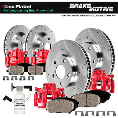 Front + Rear Red Brake Calipers And Rotors + Ceramic Pads For Chevy GMC