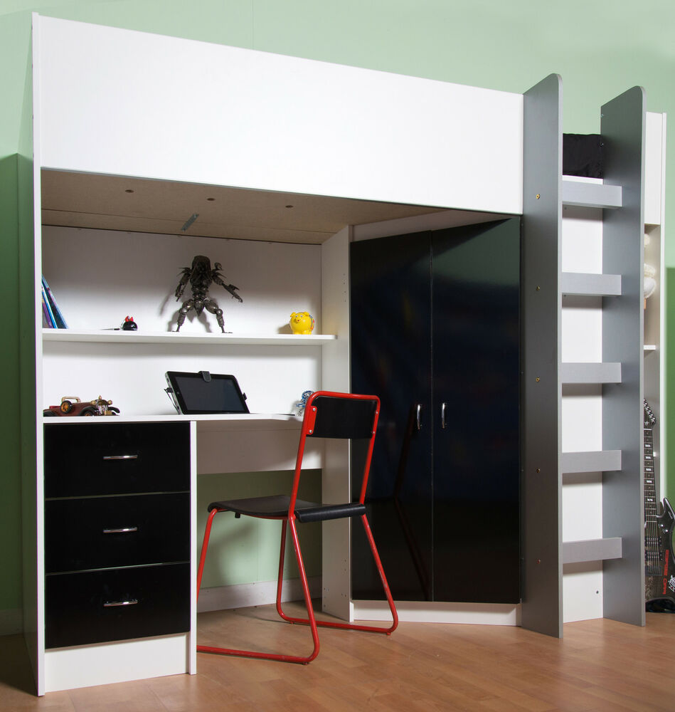 Calder Loft High Sleeper Cabin Bed Black Gloss Desk