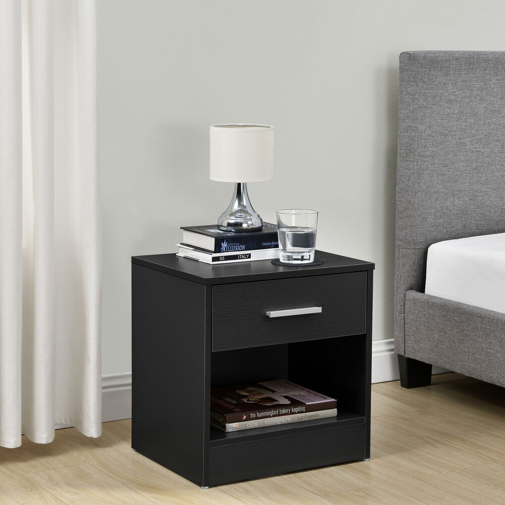 nachttisch mit schublade schwarz nachtkommode beistelltisch ablage ebay. Black Bedroom Furniture Sets. Home Design Ideas