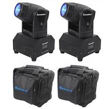 (2) FARENHEIT FH10MH DMX LED Moving Head Beam Club Stage Party Lights+Carry Bags