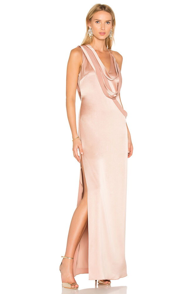 Halston Heritage Sleeveless Slip Gown with Draped Strips Prom ...