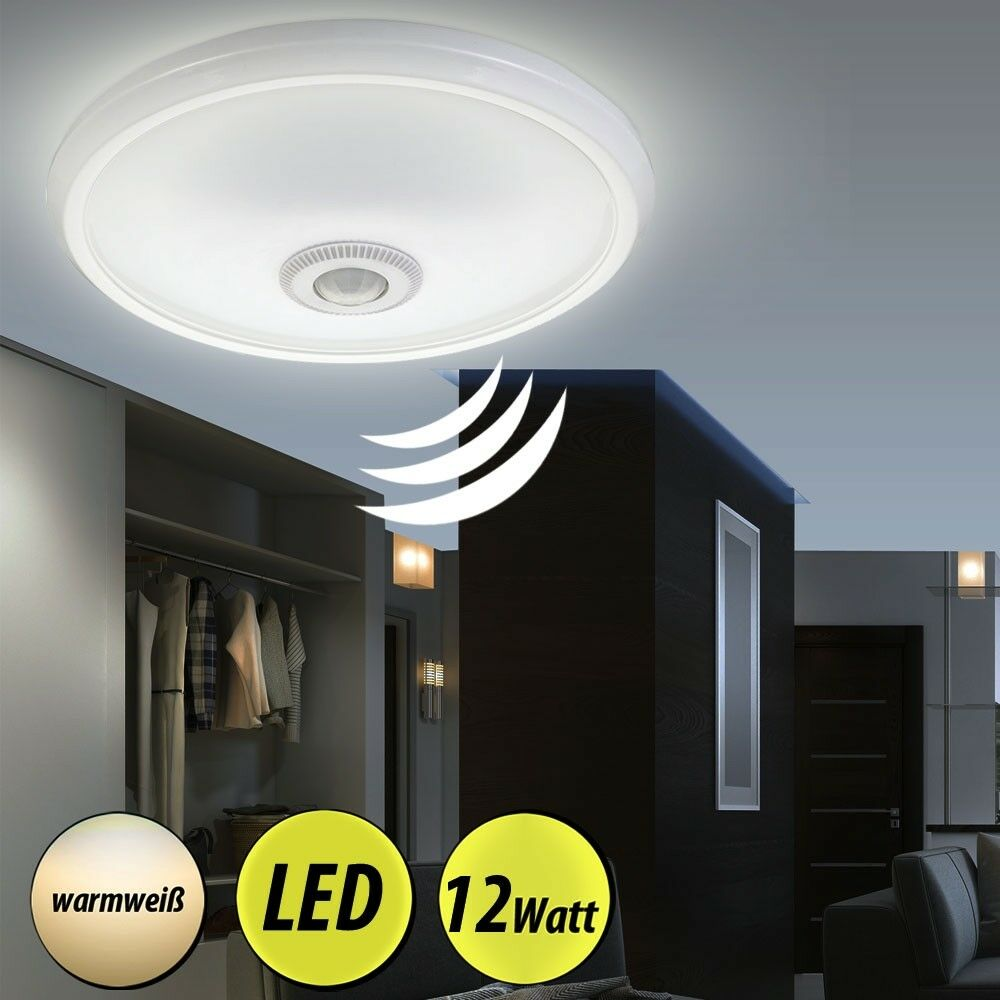 led decken lampe mit bewegungsmelder sensor flur bad badezimmer alu leuchte rund ebay. Black Bedroom Furniture Sets. Home Design Ideas