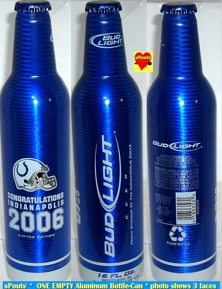 Gles Easy Craft Ideas 135 Clear Beer Bottles 2006 Indianapolis Colts Nfl Bud Light Aluminum