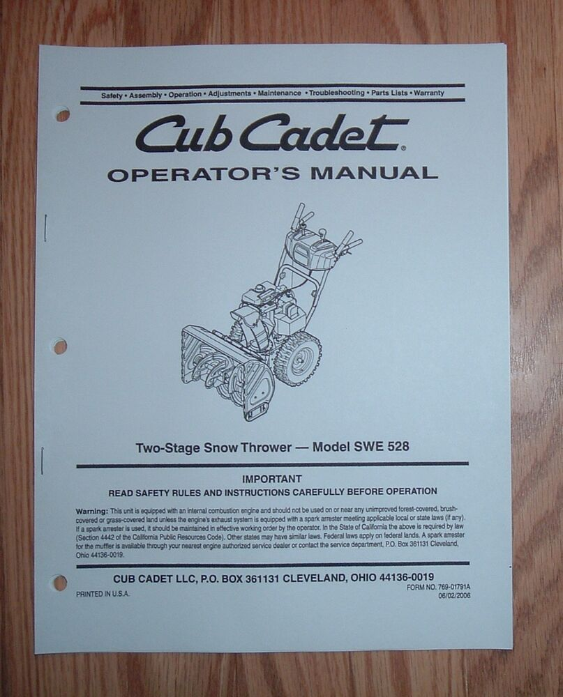 Parts list | cub cadet swe 528 user manual | page 25 / 28.