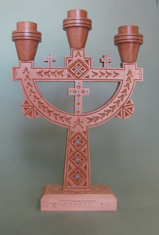 Details About 3 Holes Ukrainian Candle Holder Intarsia Pear Wood Inlaid Gl Beads Cross