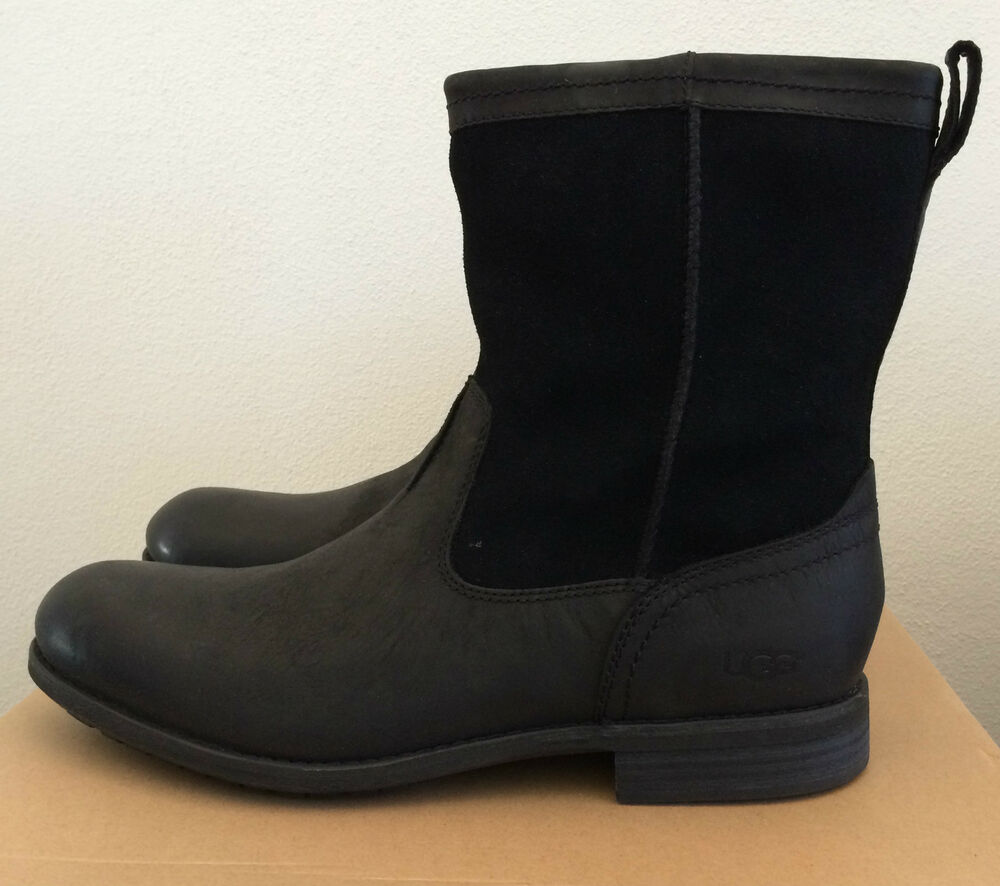 UGG Mens 7.5 Black Lerette Leather Suede Winter Boots Water Resistant  1005700