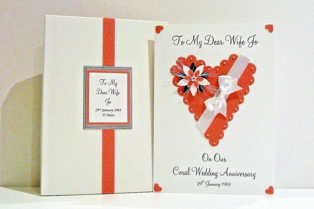 Coral Gifts 35th Wedding Anniversary: 35th Coral Wedding Anniversary Card Wife/Husband/Friends