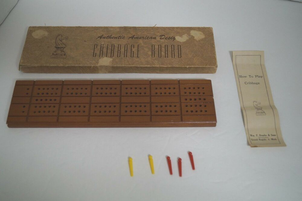 Vintage Drueke Sons Cribbage Board No5 Box And Instructions 5