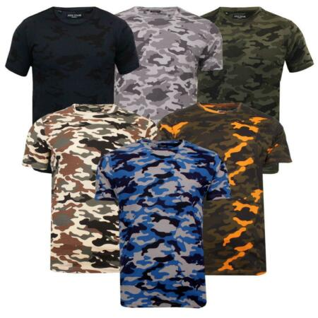 img-Mens Camo Camouflage Military Cotton T-Shirt Basic Tee Casual Top Brave Soul