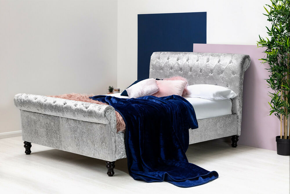 Silver Crushed Velvet Sleigh Bed Frame Double King Size ...