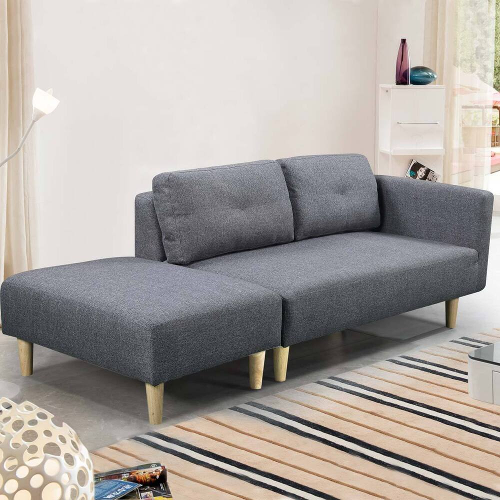 Modern 2 / 3 Seater Small Sofa Couch Grey Fabric