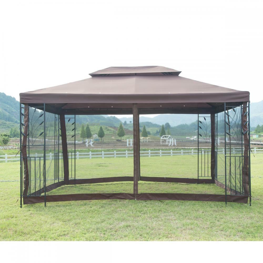 Metal Pergola With Canopy: New 10′X 10′ Outdoor Gazebo Steel Frame Vented Garden