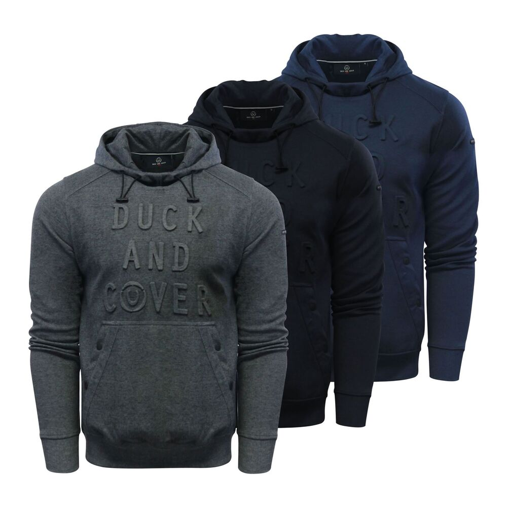 Details about Duck   Cover Stern Mens Hoodie Embossed Graphic Hooded Pull  Over Sweater b71e5b85845d