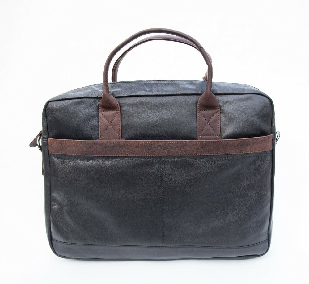 3c939ede290 Details about Azzurre Italiano Men s Womens Black Leather Business Laptop  Bag END OF LINE SALE
