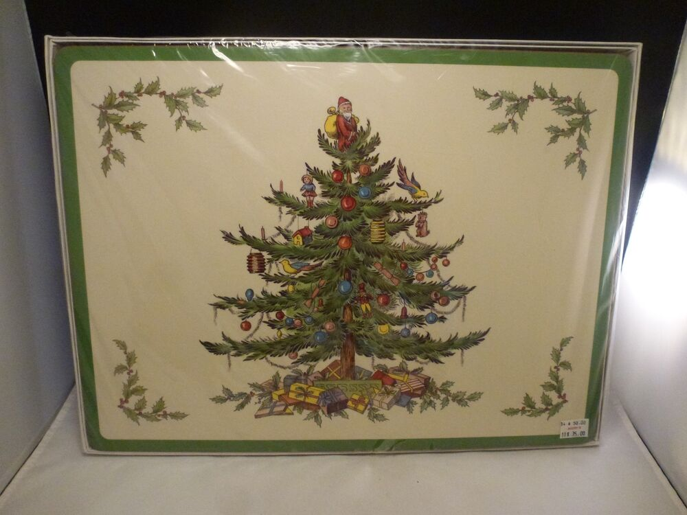 VINTAGE SEALED NEW Set Of 4 Spode Christmas Tree Placemats