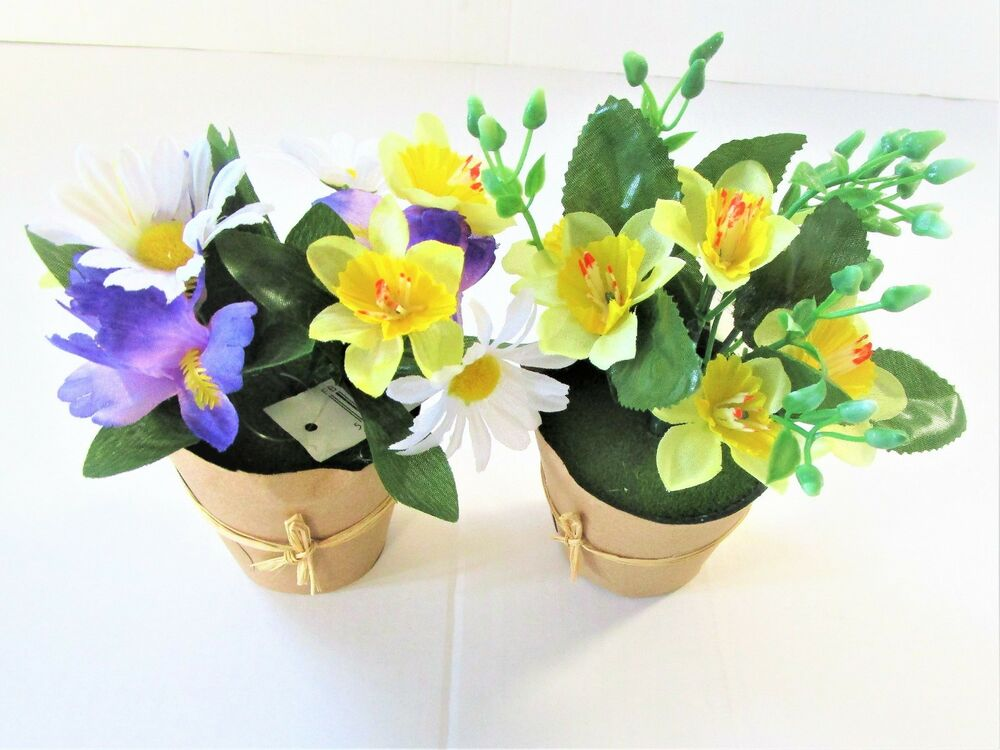 2 Assorted Artificial Spring Potted Flowering Plants In A Brown