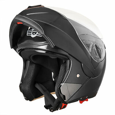 New DOT Flip up Modular Full Face Motorcycle Helmet Dual Visor Motocross Black M