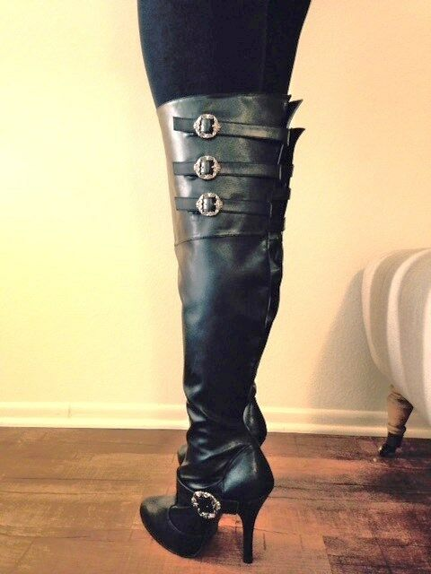 d629930db10 Details about Black Thigh High Over the Knee Fetish Drag Queen Wide Calf  Boots size 11 12 13 W