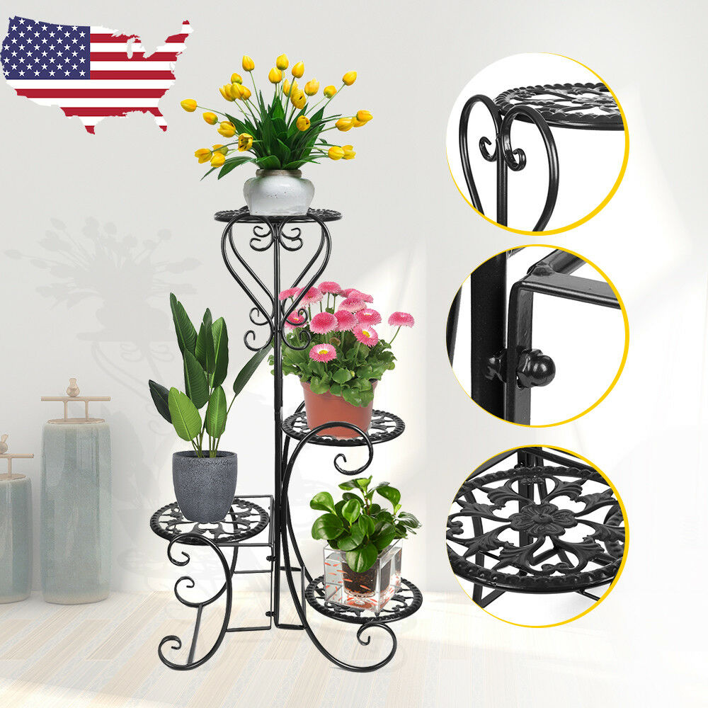 Details About 4 Tier Metal Plant Stand Garden Decor Flower Pot Shelves Outdoor Indoor Wrought