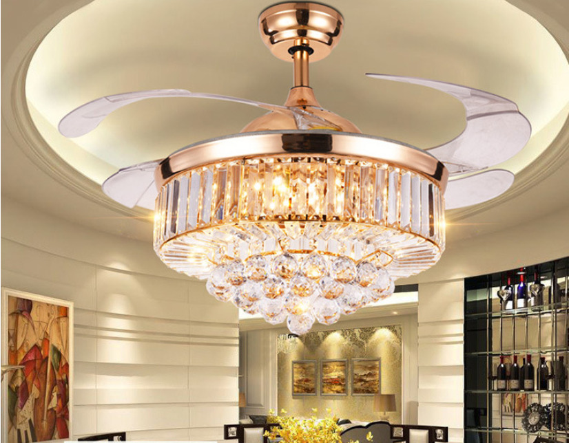 Rose Gold Led Crystal Ceiling Invisible Fan Light Lamp