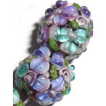 Lampwork Glass Flower Beads Raised Petals Purple 15 mm 4 Beads (#a33ple)
