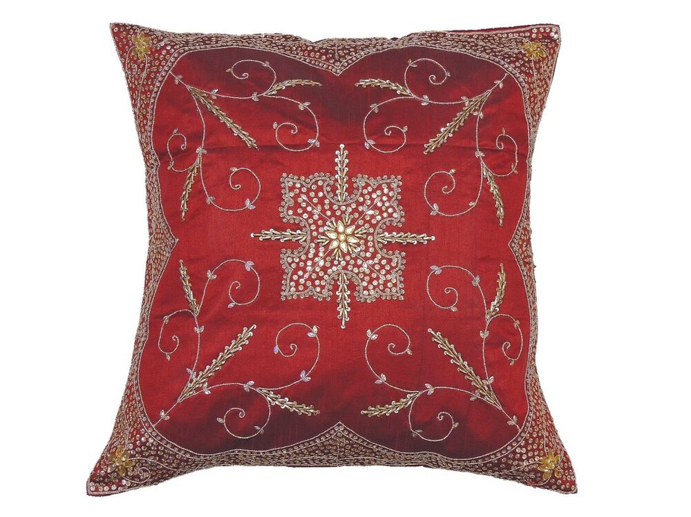 40095a5ed3c Details about Decorative Burgundy Beaded Zardozi Pillow Cover Floor Lounge  Euro Cushion 26