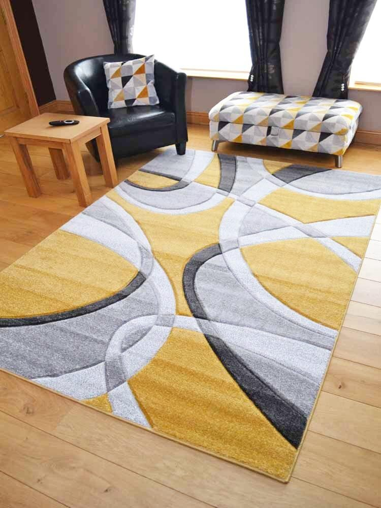 New Ochre Mustard Grey Modern Style Soft Thick Rug Small