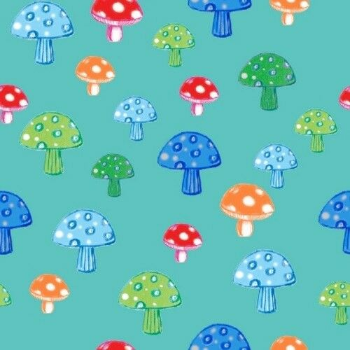Quilter's Palette Color Me Fun 12720 Turquoise Mushroom Cotton Fabric