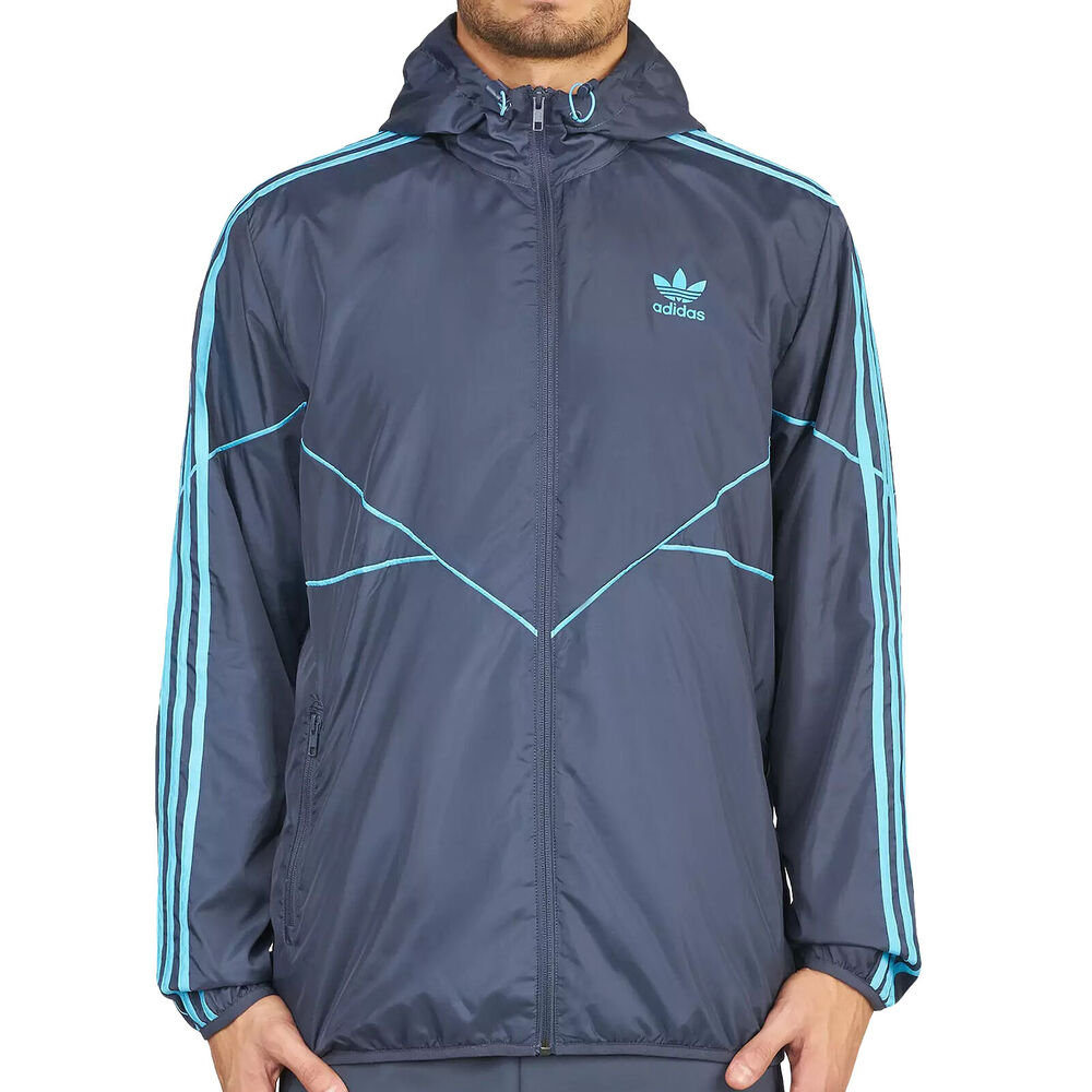 67f5d70ba030 Details about adidas Originals Men s Tactical Windbreaker Slim Jacket Retro  Vintage Style Blue