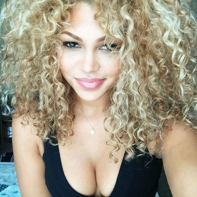 Afro Curly Wig Mix Blonde Color Black Women Synthetic Long Wigs High