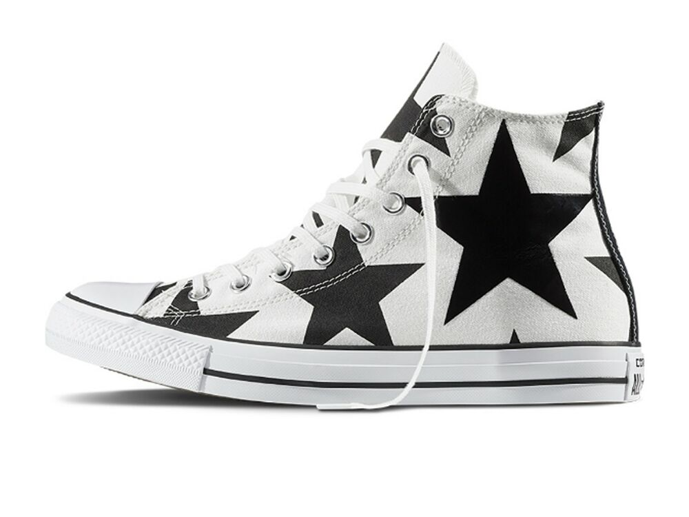 SCARPE UNISEX CONVERSE 156812C ALL STAR HI CANVAS PRINT WHITE/BLACK BIG STAR