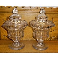 Pair Of Antique EAPG Flint? Glass Candy Dishes - 9 1/8