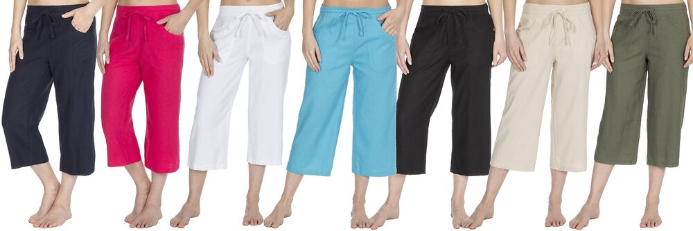 aaa6c32a1c2af6 Details about Causeway Bay Ladies Linen Blend Cropped 3/4 Length Trousers