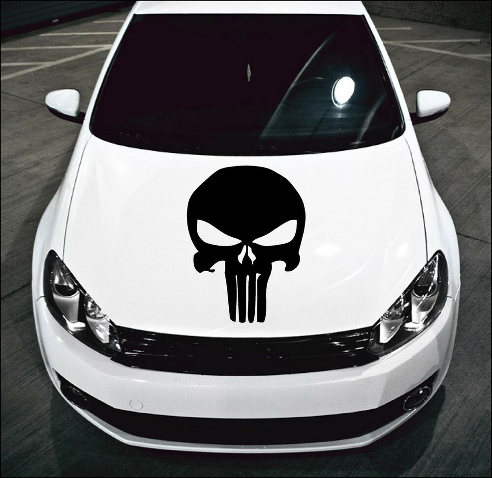 Large punisher skull car bonnet car vinyl graphic sticker van panel decal 13 ebay