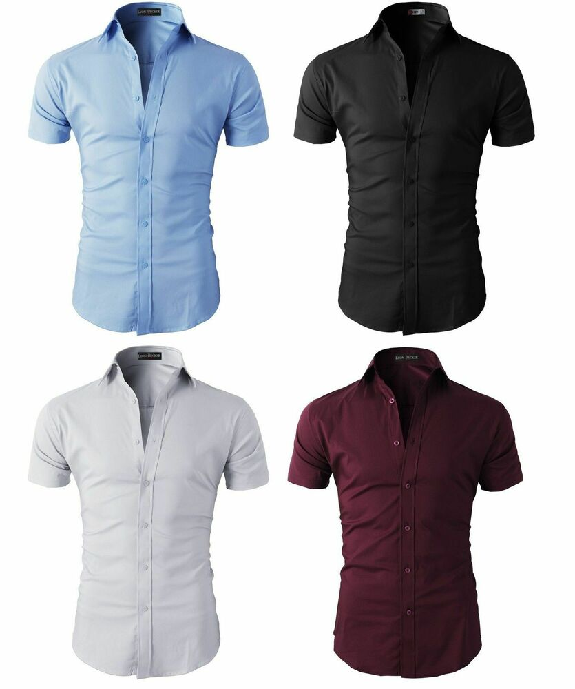 1c67bb4a3 Details about Men's Short Sleeve Casual Shirts Formal Slim Fit Dress Shirt  Top Summer 5 Colors