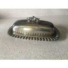 """Vintage Silver Plated Scalloped Butter Dish w/ Decorative Handle Lid by ETON 8"""""""