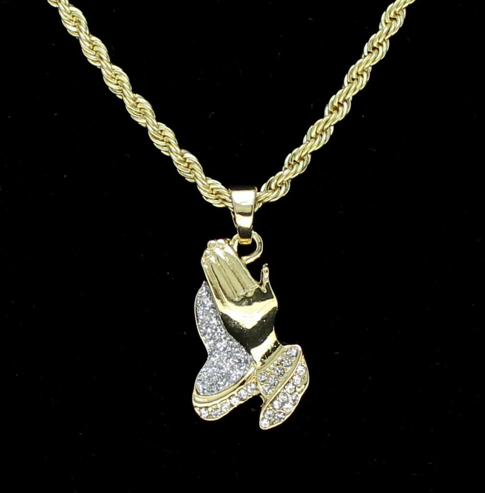 cbec4bf1e26 14k Gold Plated Praying Hands Pendant Iced Out Cz 24