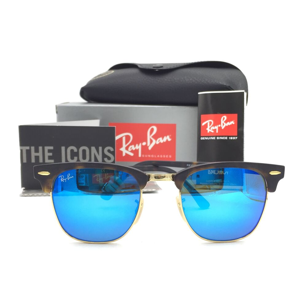 466d90f3efa Details about New Ray-Ban RB3016 1145 17 Tortoise Clubmaster Sunglasses  Blue Mirror Lens 49mm