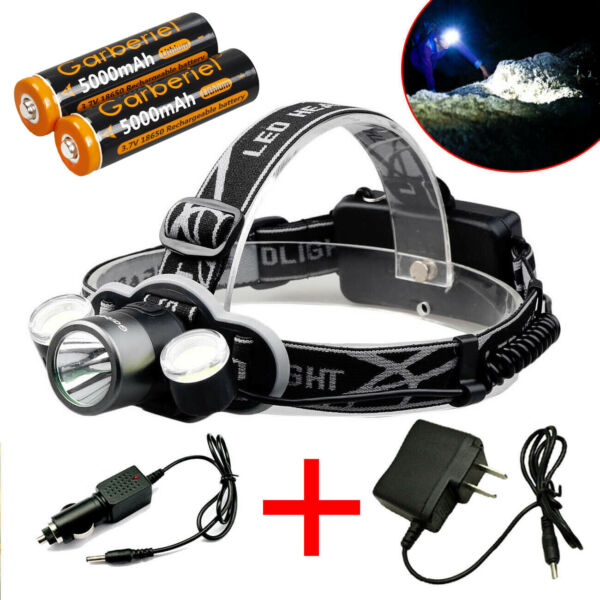 90000LM 3 x LED Headlamp Headlight Rechargeable Torch + USB Cable&18650 Battery
