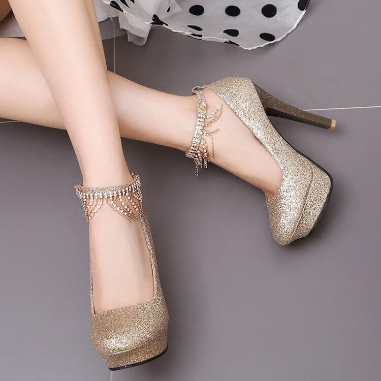 f45995951ae Details about Women Glitter Stilettos High Heels Platform Ankle Strap  Rhinestone Wedding Shoes