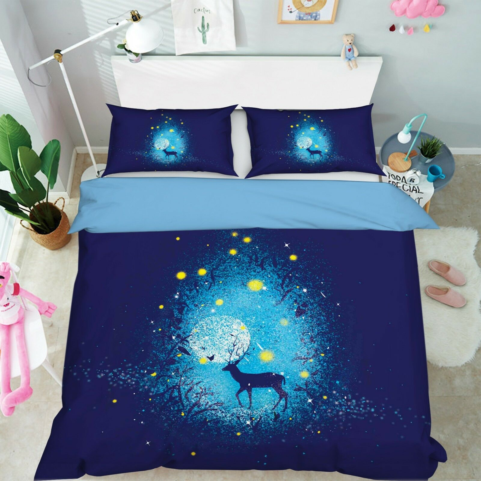 3d Vollmond Hirsch Bett Kissenbezüge Steppen Duvet Decken Set Single Königin  De
