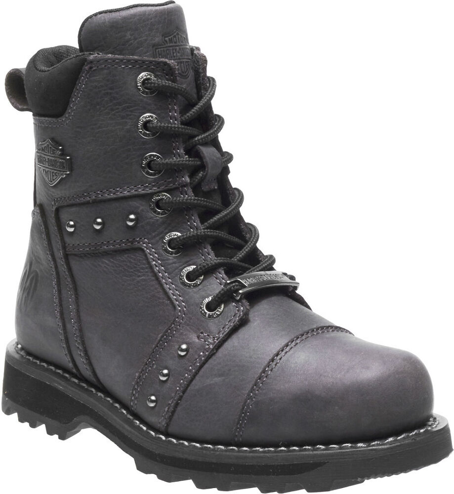 Harley-Davidson Womens Oakleigh Smoke Black Leather Motorcycle Boots -6044