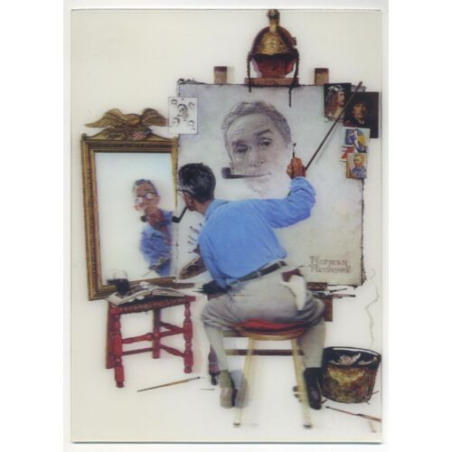 triple-self-portrait-norman-rockwell-5x7-high-quality-3d-lenticular-picture-new