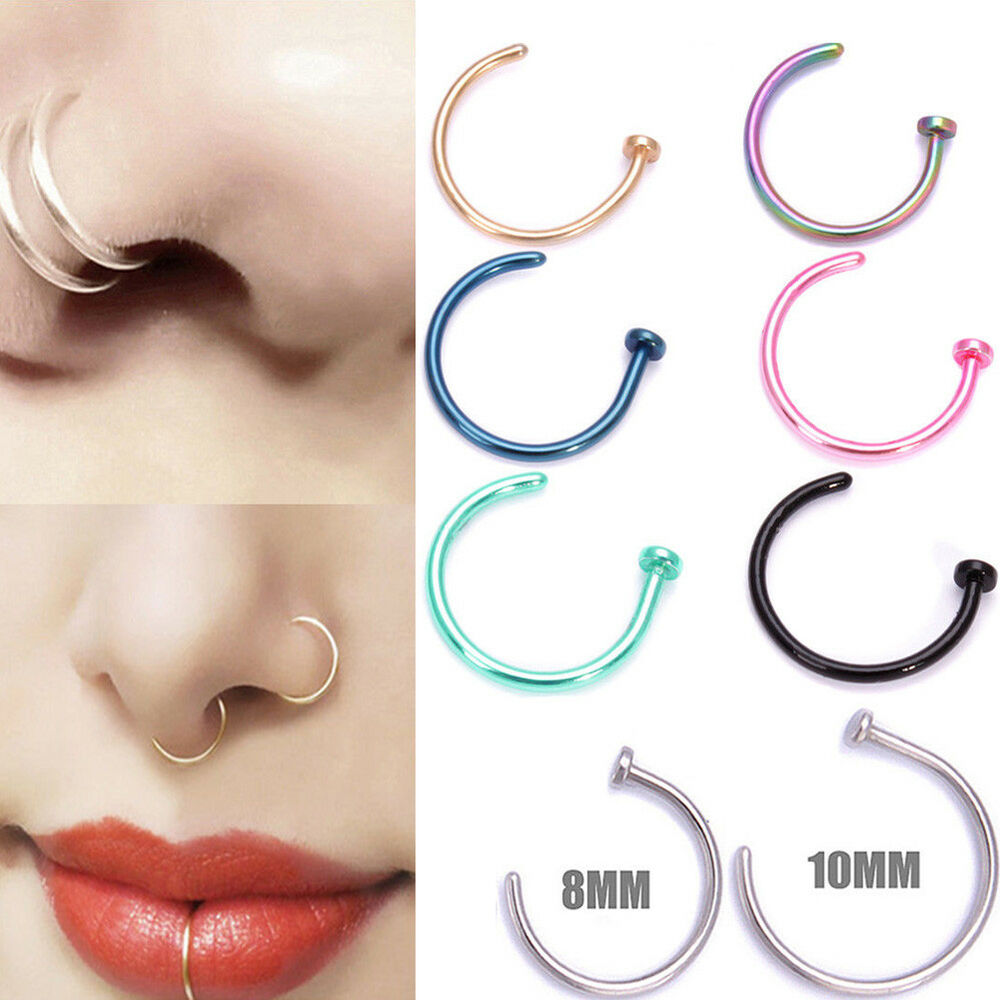 Surgical Steel Open Nose Ring Hoop Lip Ring Small Thin