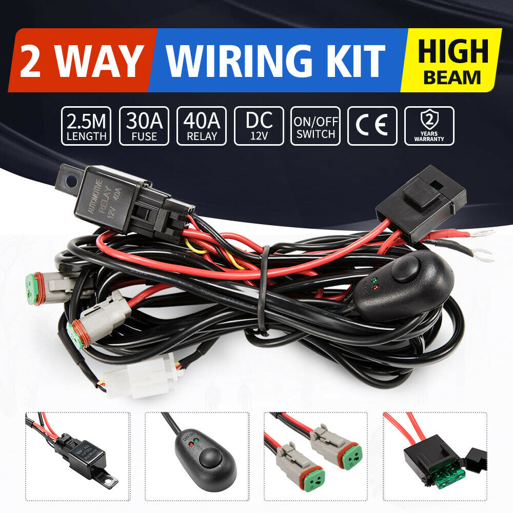 2 Way High Beam Wiring Loom Harness 12v 40a Relay Switch Kit Driving Find This Product Under Dc Hid Fuse Wire Light Bar 501560100266 Ebay