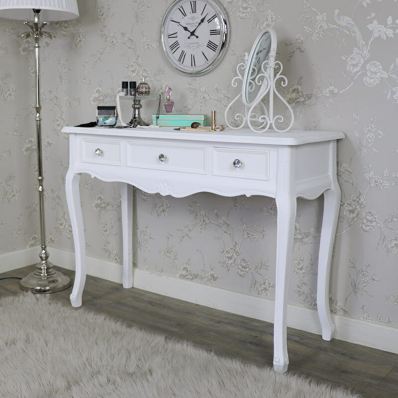 White wooden ornate console dressing table shabby french - French shabby chic bedroom furniture ...
